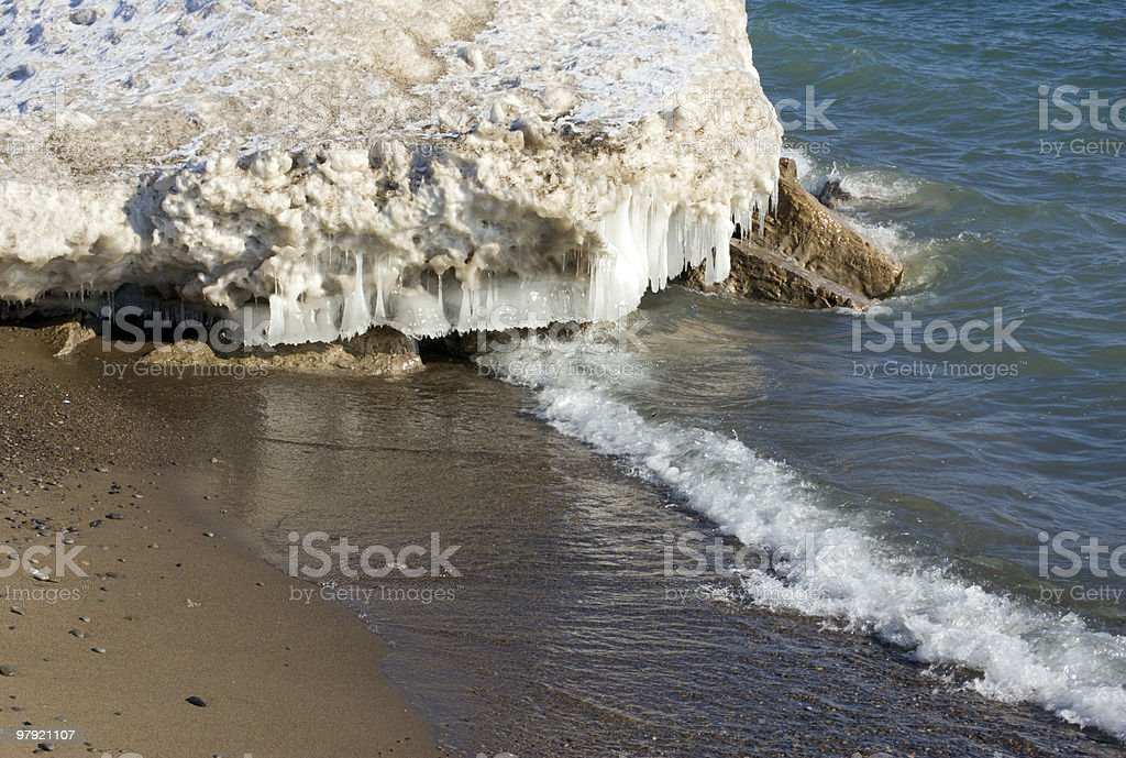 Ice on the rock royalty-free stock photo