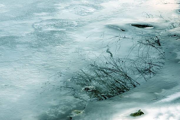 Ice on the sea shore stock photo