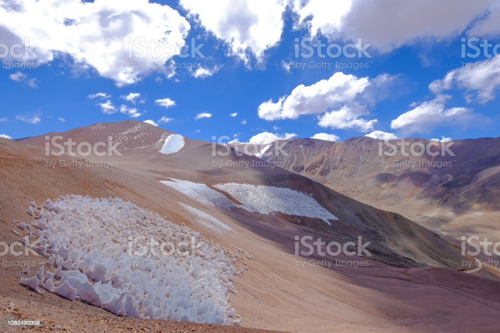 Ice or snow penitentes and andean landscape at Paso De Agua Negra mountain pass, Chile and Argentina, South America stock photo