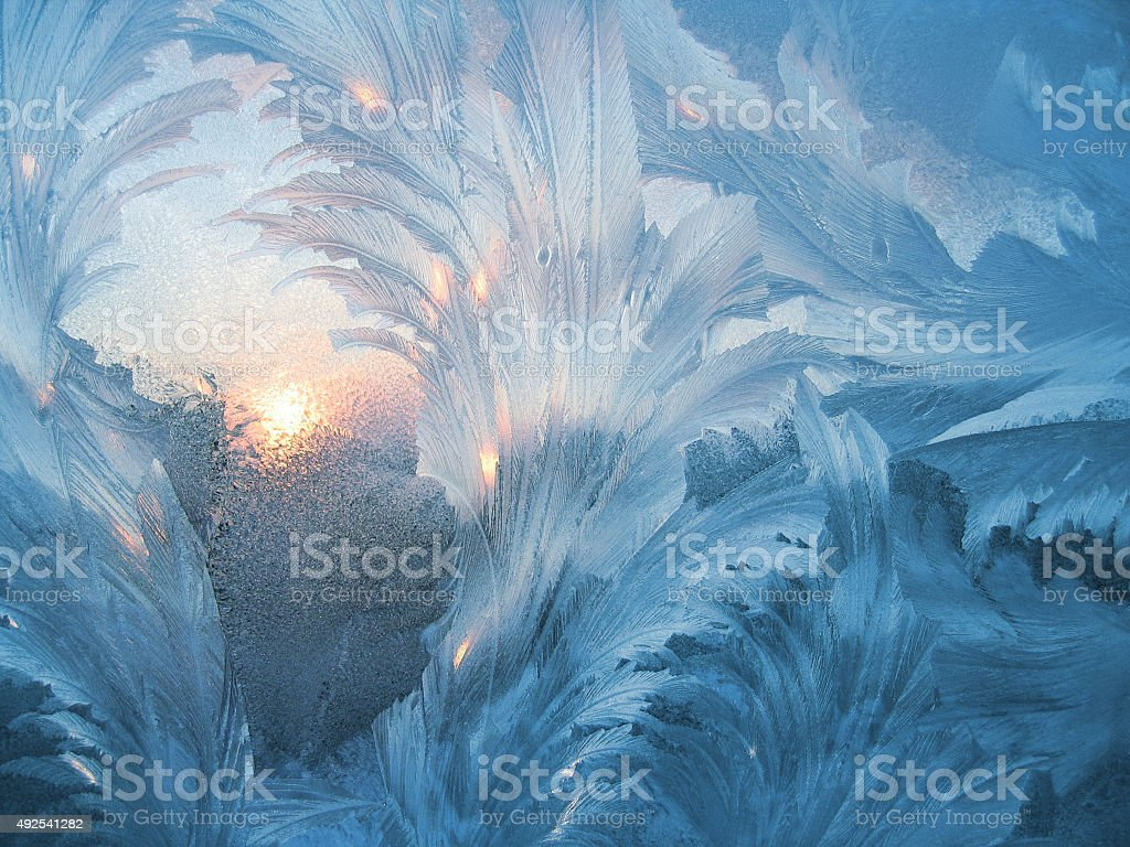 Ice pattern and sun stock photo