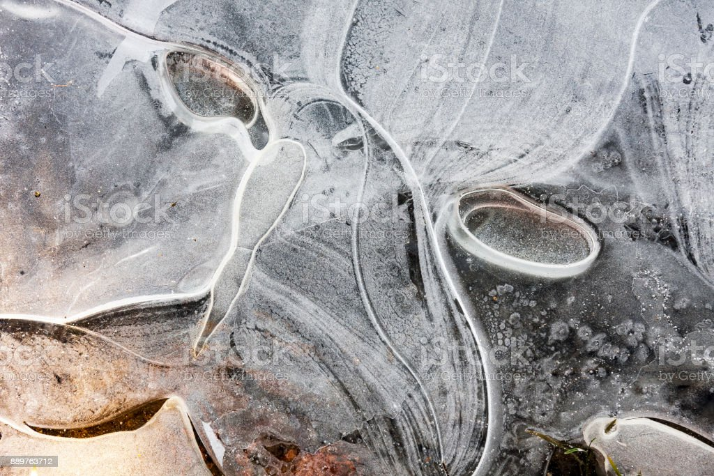 Ice pattern in the shape of face stock photo
