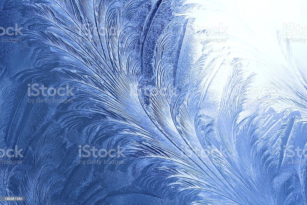 Ice pattern on a window in winter royalty-free stock photo