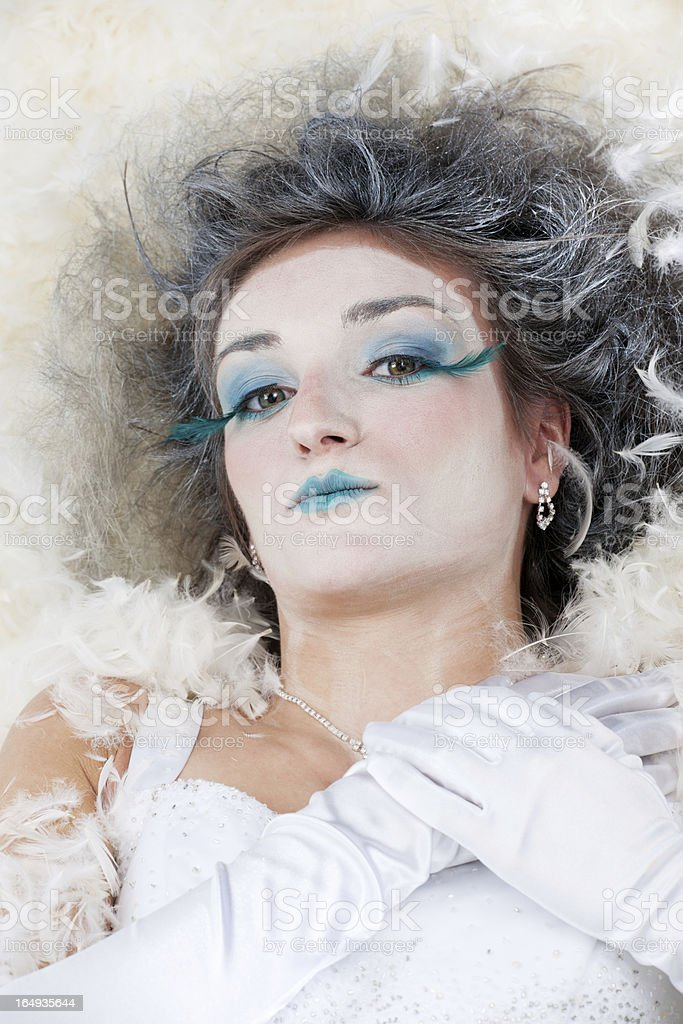 Ice Princess, Diva With Fluffy Feathers Surround royalty-free stock photo