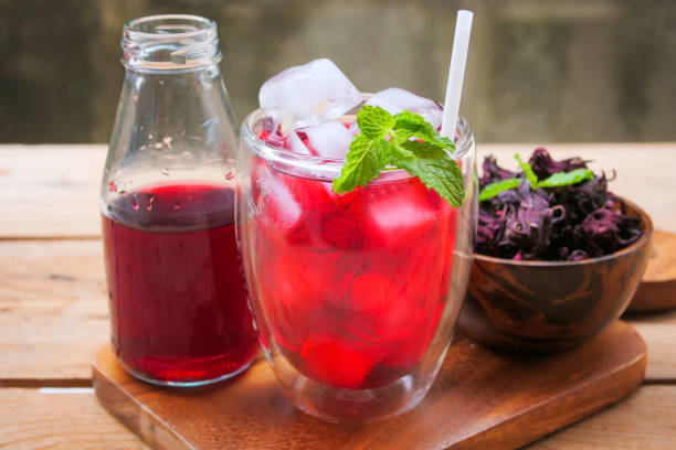 ice Roselle juice and refresh drink stock photo