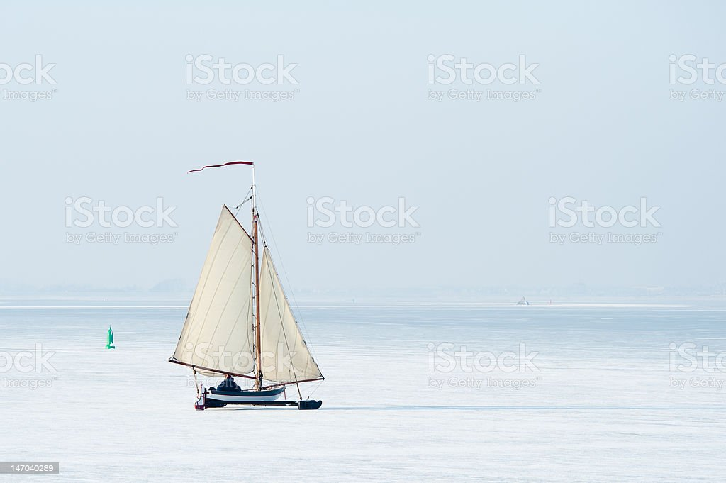 Ice sailing in the Netherlands stock photo