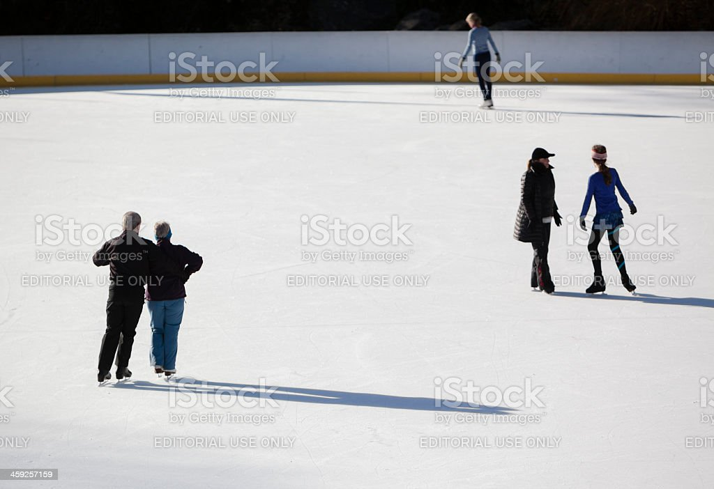 Ice scating in the Central Park royalty-free stock photo