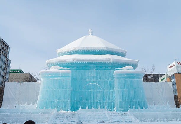 ice sculpture of chiang kai-shek memorial hall - sapporo stock photos and pictures