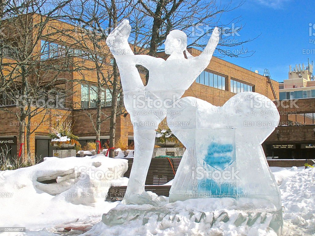 Ice sculpture of hometown USA Olympic figure skater stock photo