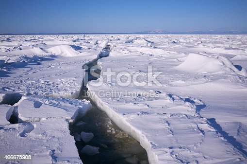 Arctic cold sea, solid ice landscape with crack