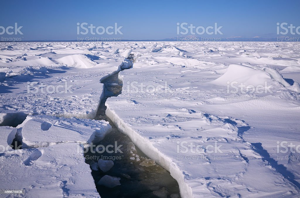 Ice sea crack stock photo