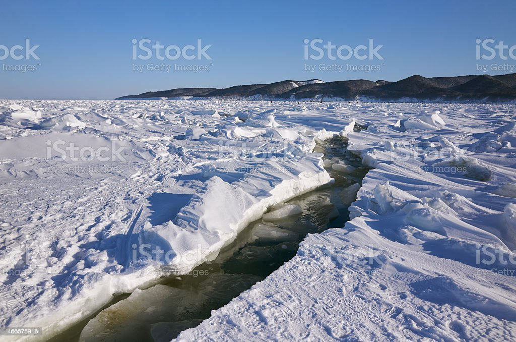 Ice sea crack stock photo
