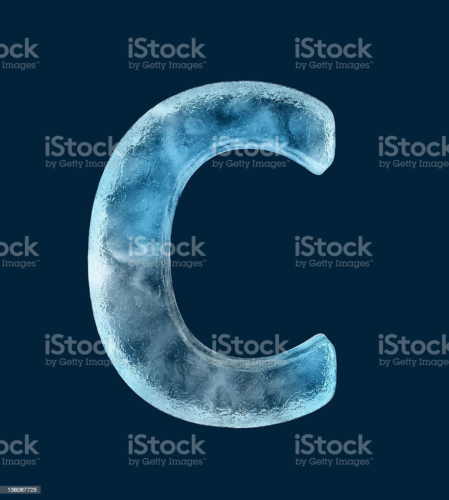 A ice shaped in the letter C in front of a blue background stock photo