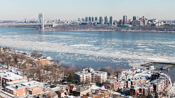 Ice Sheets Floating Down the Hudson River stock photo