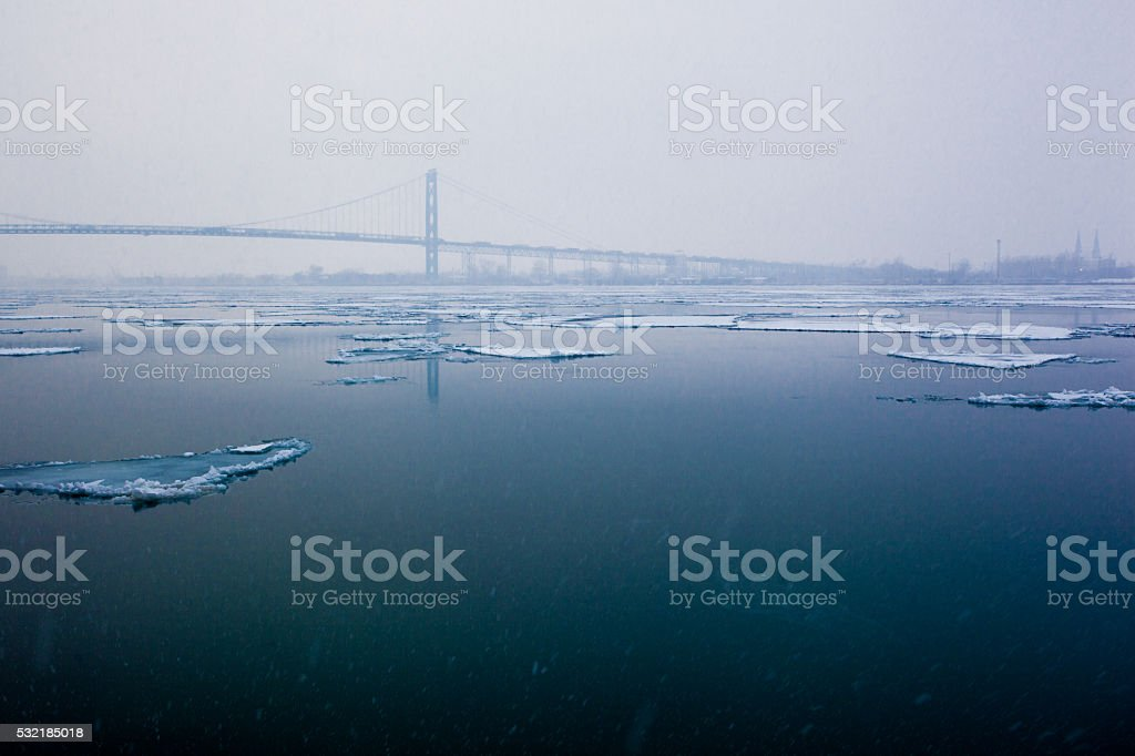 Ice Sheets on the Detroit River stock photo