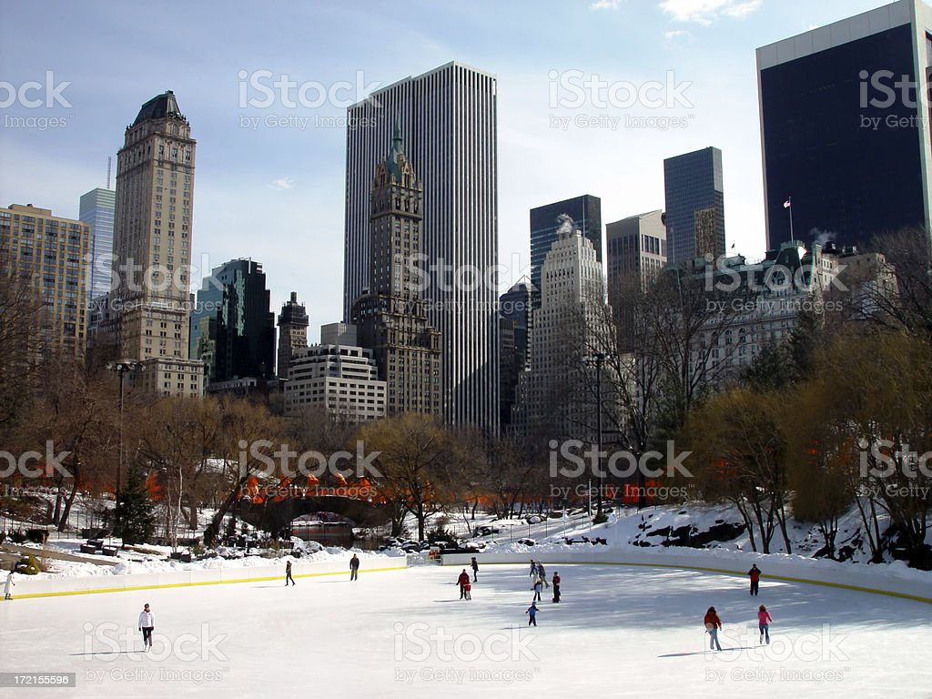 Ice Skaters at Central Park stock photo