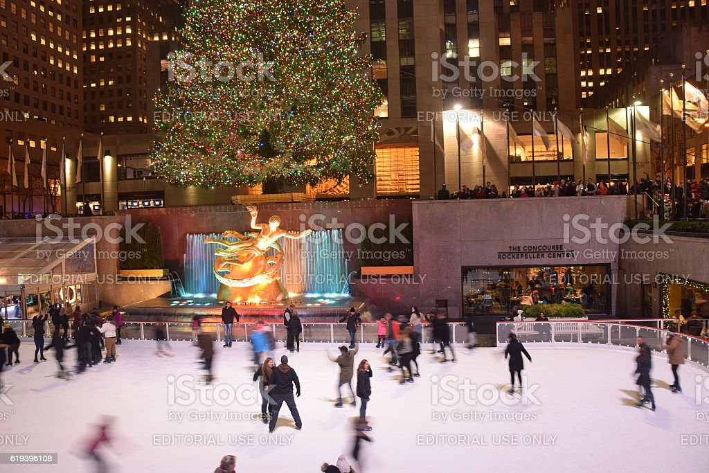 Ice skaters Rockefeller Center New York stock photo