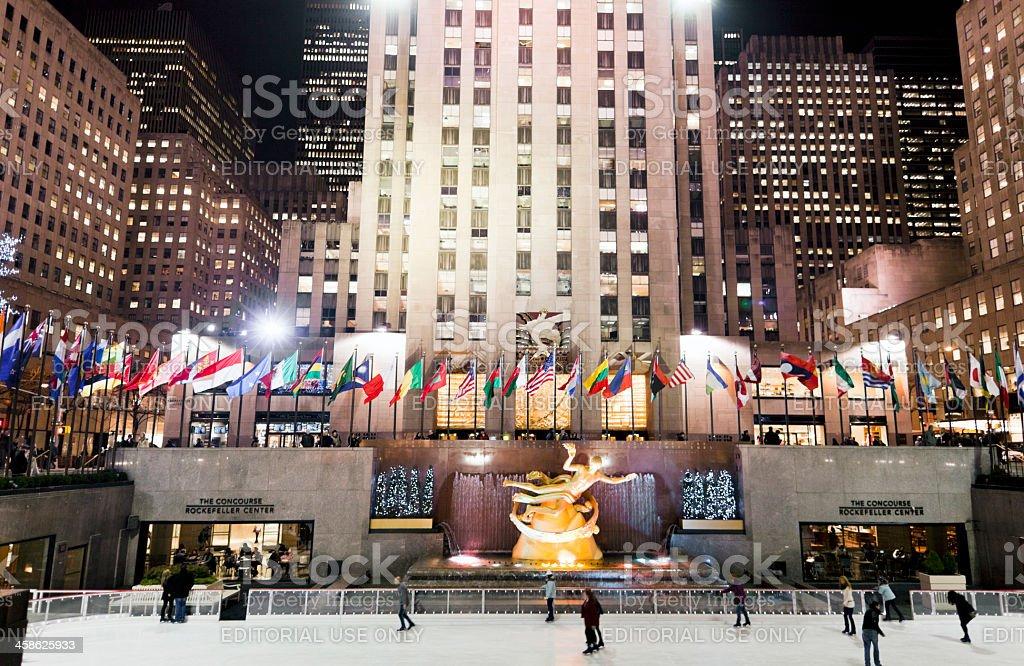 Ice skating at the Rockefeller Center New York stock photo