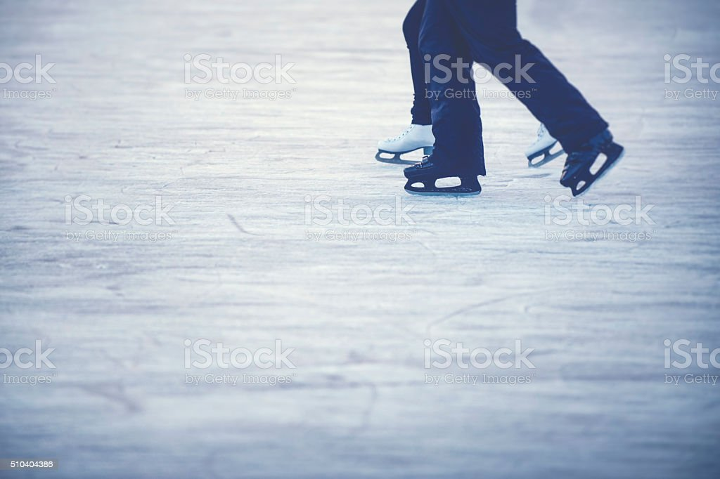 Ice skating couple stock photo