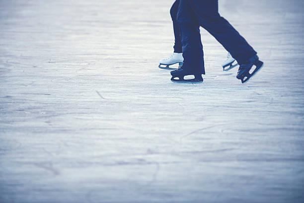 Ice skating couple stock photo