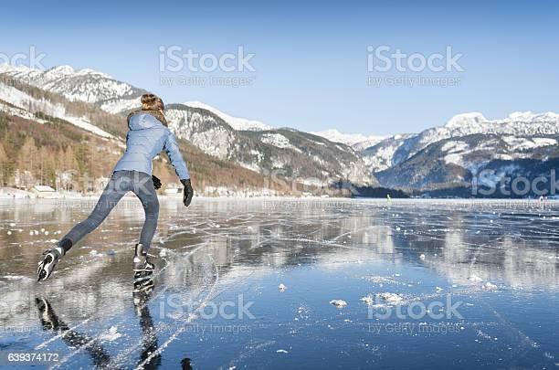 Photo of Ice Skating, Frozen Lake Grundlsee, Austria