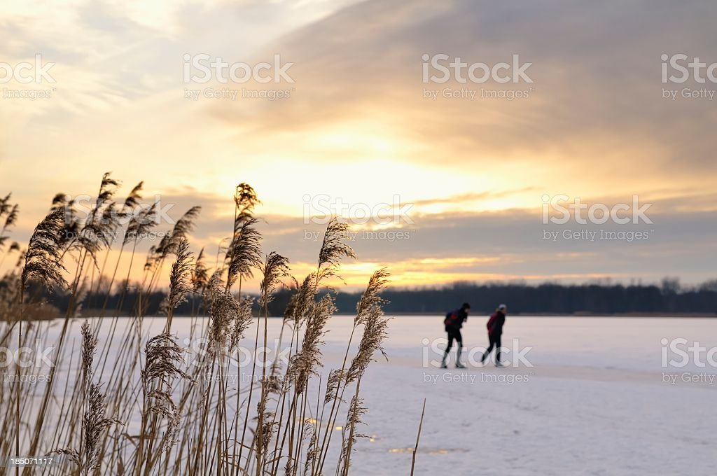 Ice skating in a sunset royalty-free stock photo