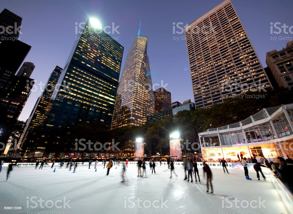 Ice Skating in Bryant Park -New Yorkt stock photo