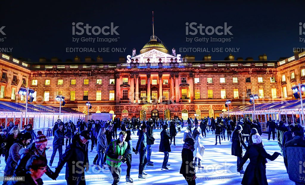 Ice Skating in Somerset House in the evening stock photo