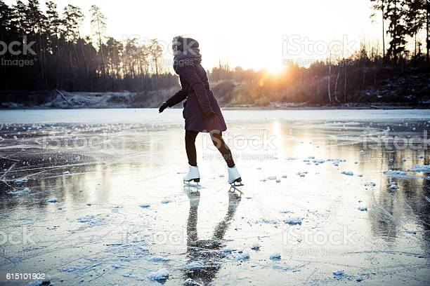 Photo of Ice skating on the frozen lake