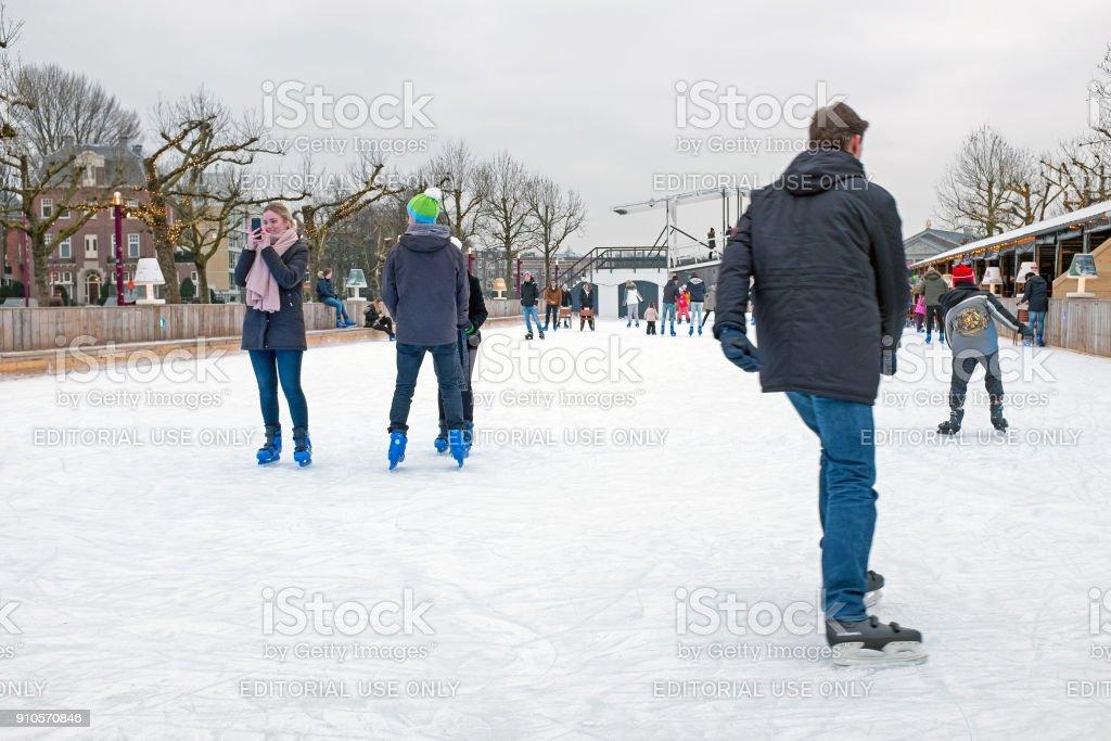 Amsterdam, Netherlands - January 9 2018: Ice skating on the ice...