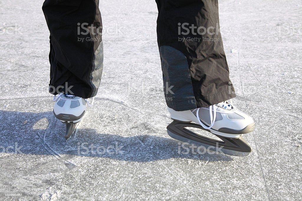 ice skating outdoors pond freezing winter royalty-free stock photo