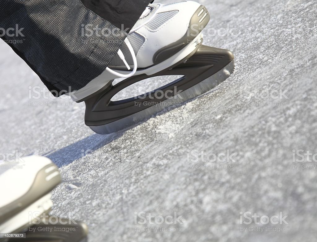 ice skating outdoors pond freezing winter royalty-free stock photo