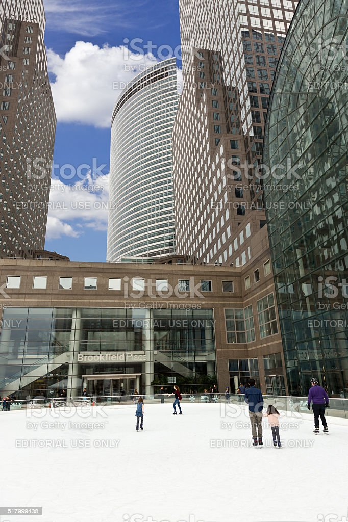 Ice Skating Rink at Brookfield Place, Battery Park, Manhattan, NYC. stock photo