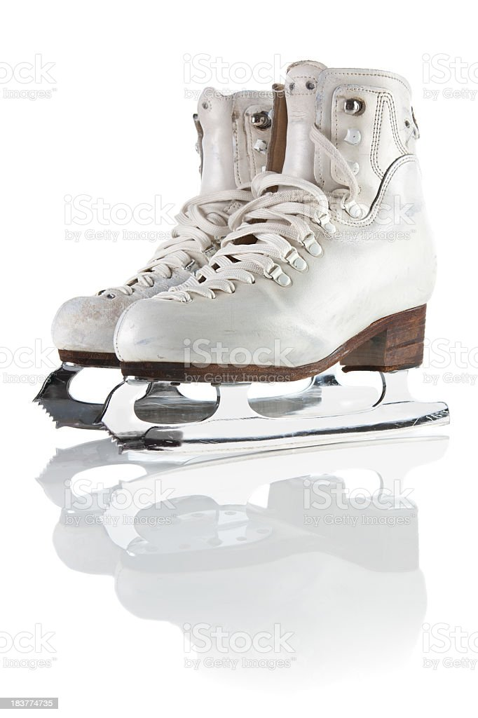 Ice skating shoes and blades  with clipping path stock photo