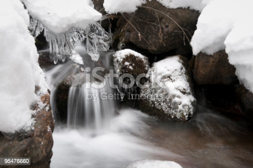 Details of a stream in winter with creations of ice, snow and flowing water
