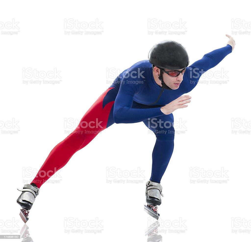 Ice speed skater in turn stock photo