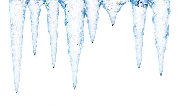 ice stalactiles isolated on white - 고드름 뉴스 사진 이미지