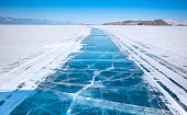 Ice surface of Baikal lake