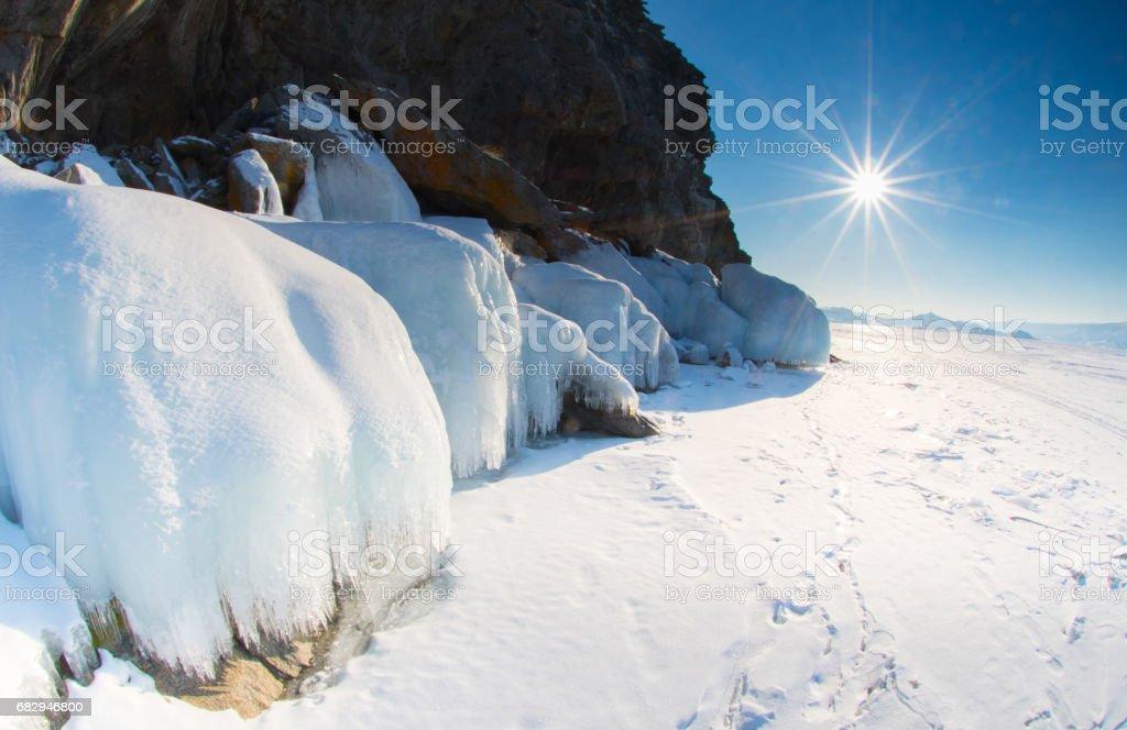 Ice surface of Baikal lake royalty-free stock photo