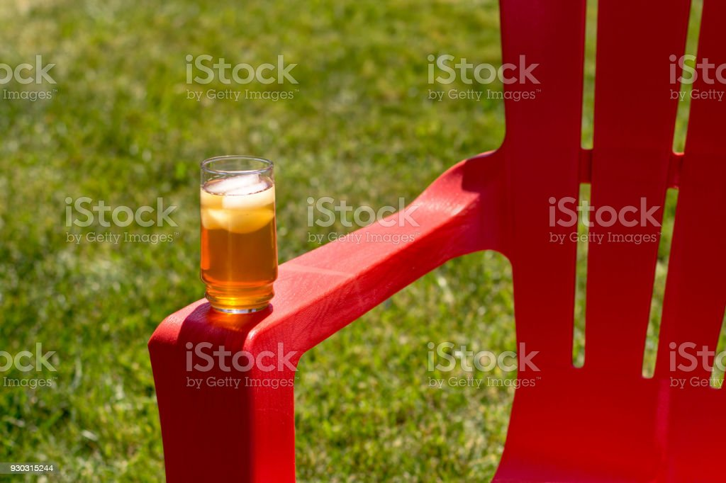 Ice Tea on Red Chair stock photo