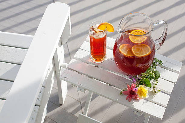 ice tea pitcher and glass stock photo