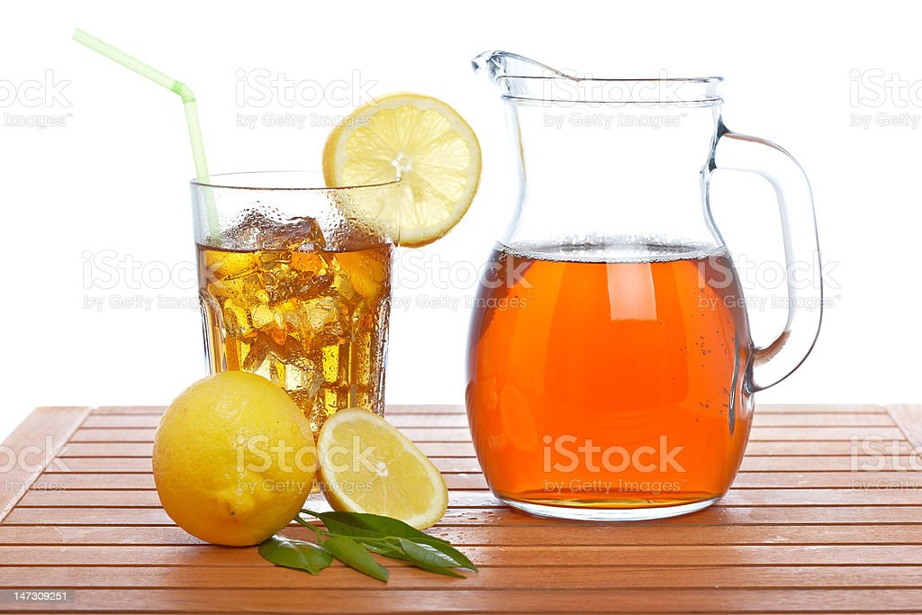 Ice tea pitcher and tumbler stock photo