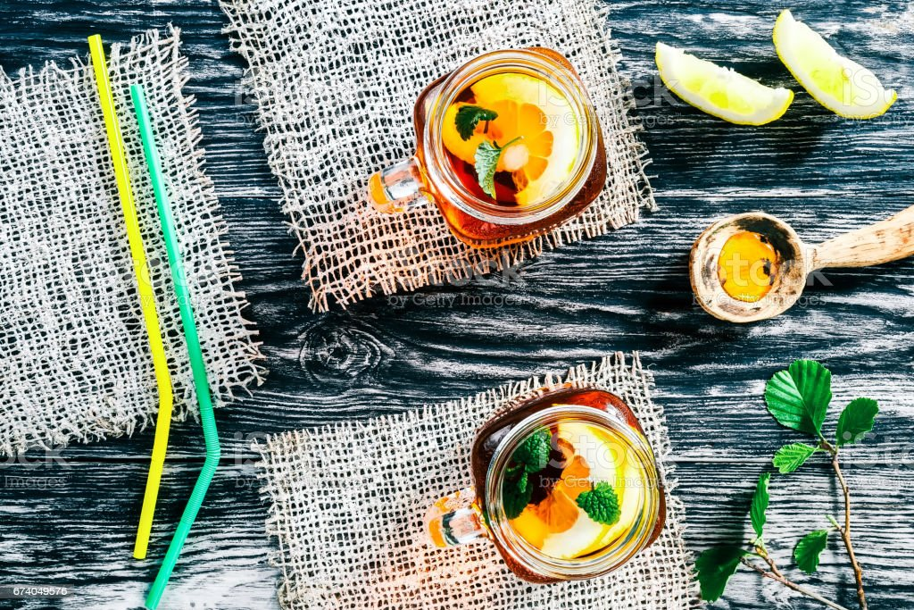 Ice tea with lemon and mint royalty-free stock photo