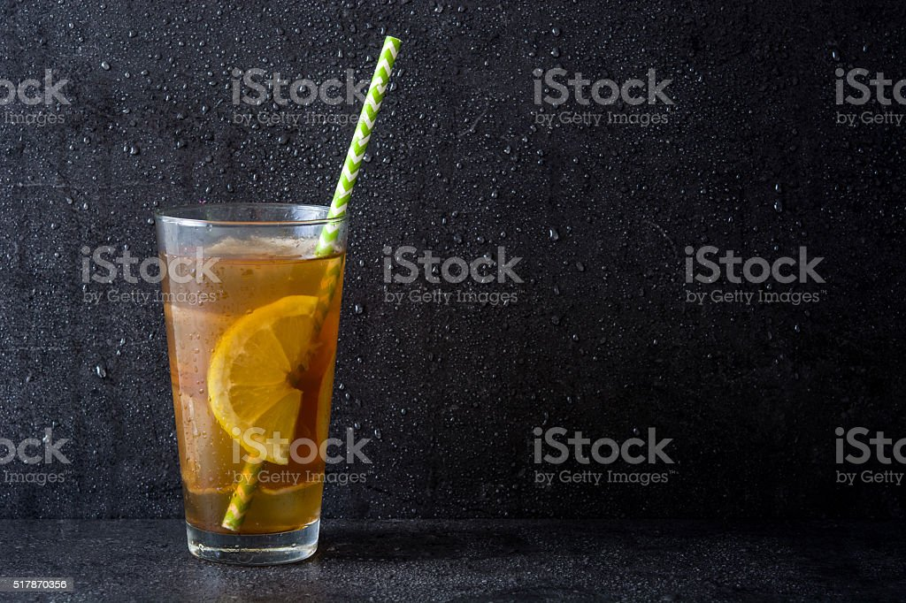 Ice tea with lemon stock photo