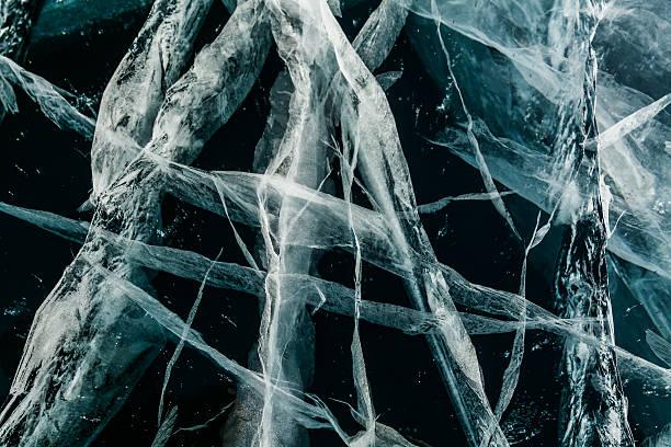 Ice texture. Baikal, Russia stock photo