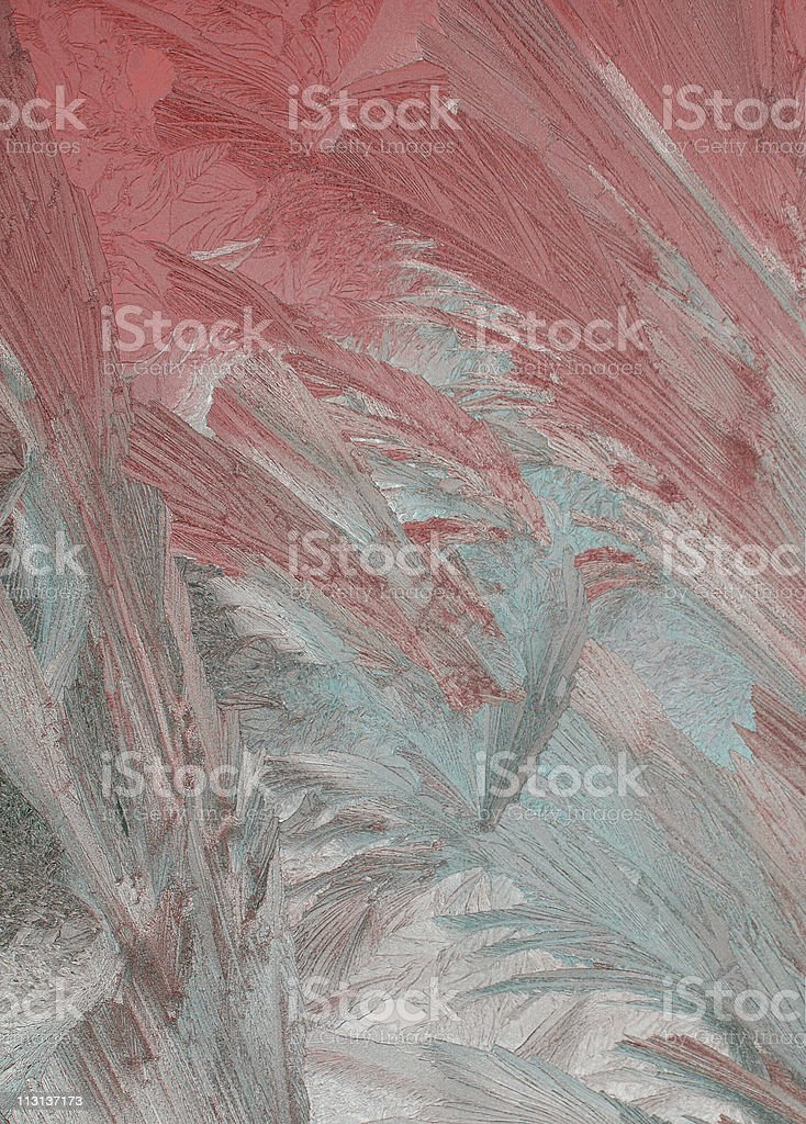 Ice texture on the window glass stock photo