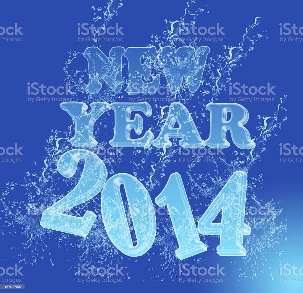NEW YEAR 2014 ice water font royalty-free stock photo