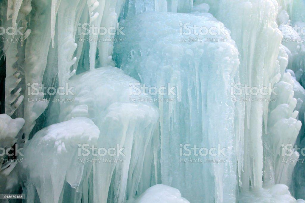 Ice waterfall stock photo