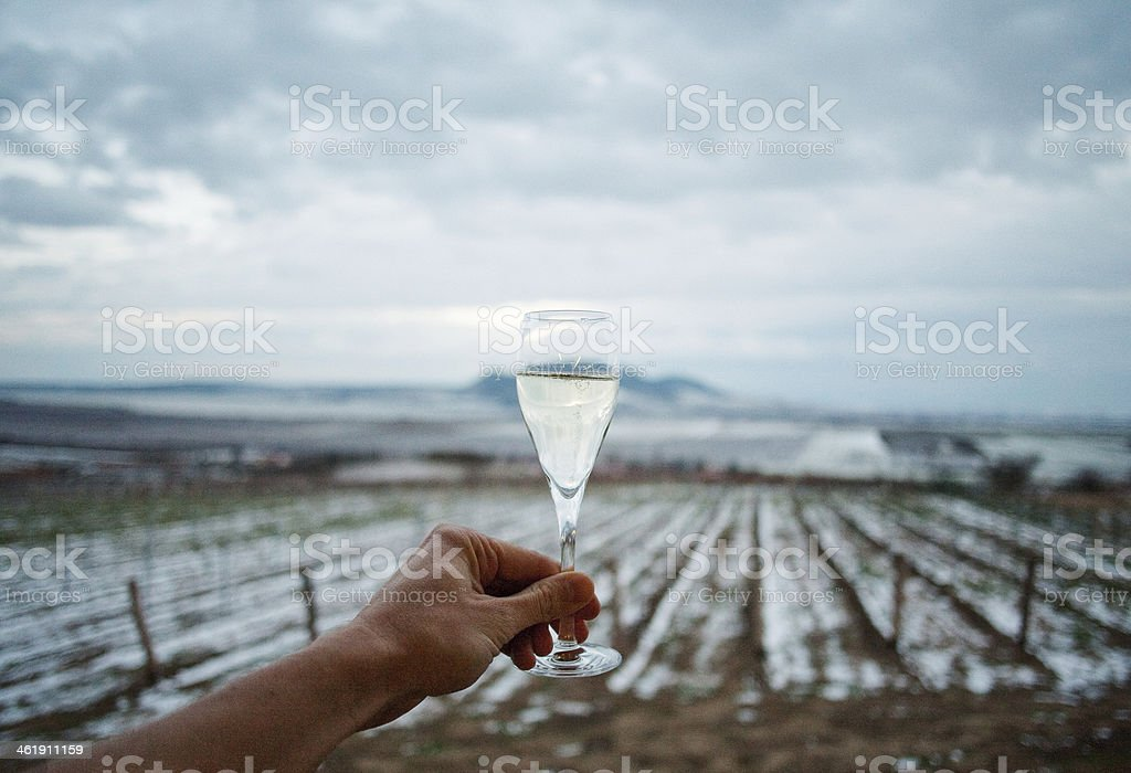Ice Wine Cheers Local wine made from frozen grapes. Alcohol - Drink Stock Photo