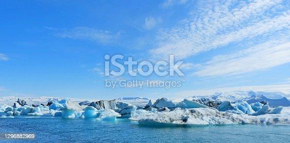 istock Ice winter panoramic view on glacial lake Jokulsarlon lagoon Iceland, amazing ice floes surreal iceberg blue sparkling ice, awesome Icelandic nature, white polar arctic landscape. 1296882969