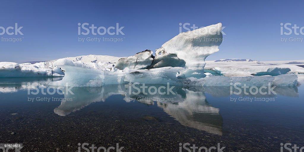 Iceberg and Reflection on the Lagoon, Jokulsarlon, Iceland royalty-free stock photo